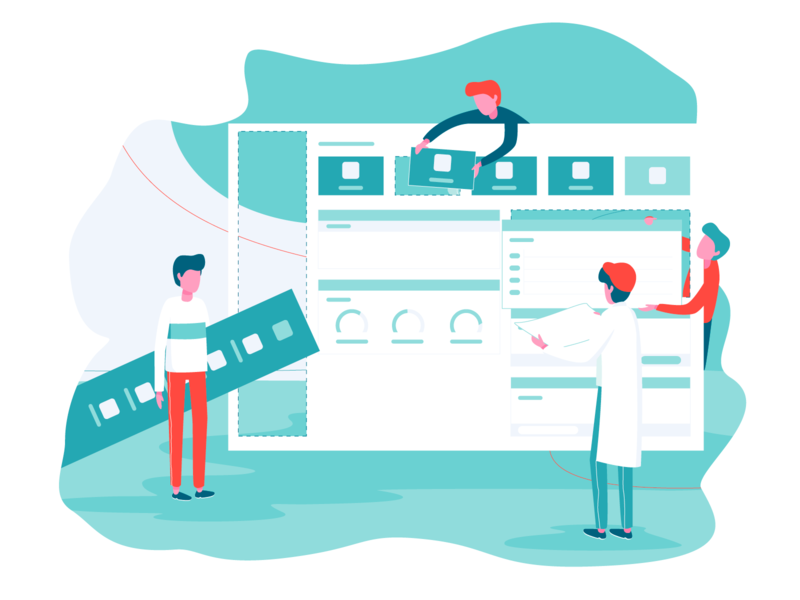 Dashboard Team team collaboration characters screen landing vector interface web dashboard illustration