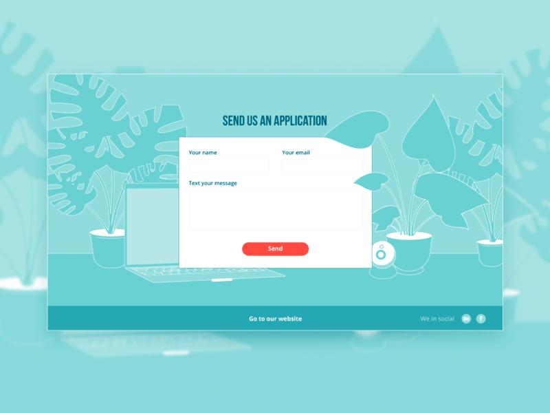 Contact form - Send us an application web page web ui plants landing illustration form design contact us contact form contact