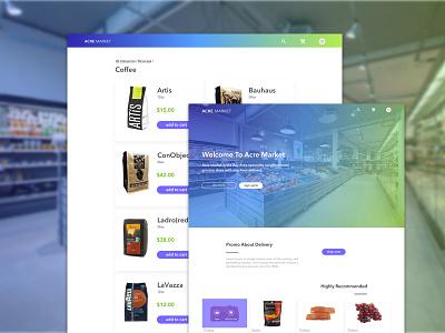 acre market gradient green blue fresh market grid web web design