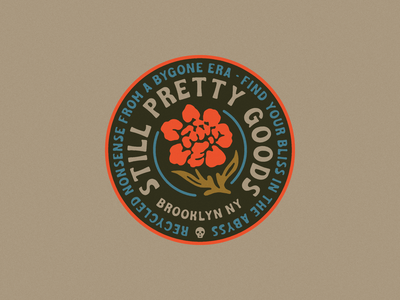 Still Pretty Rose Badge Lockup Thing roses branding logo lockup font vintage badge flower