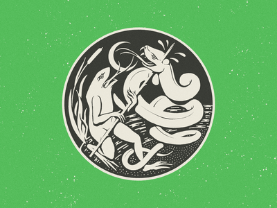 Amphibian Battle drawing procreate vin conti scary occult snakes battle illustration snake frog