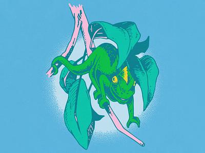 Chameleon vin conti vector halftone illustration leaves chameleon