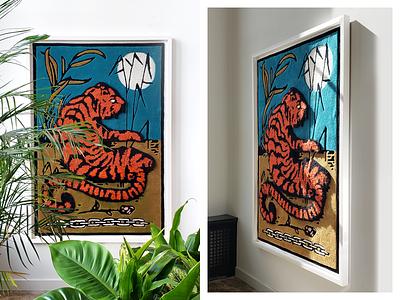 Tiger Rug vin conti tapestry plants flower rose chain detroit tiger illustration rug
