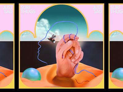 Desert Hand occult blood record music ball sci fi bee illustration airbrush hand desert