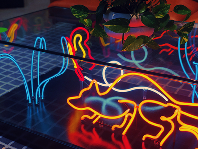 3D Neon Diorama neon light neon sign water plants fish fox biology science diorama furniture neon