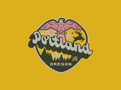 Portland Oregon Badge vin conti forest mountain script lettering eagle elk deer rose sticker oregon portland badge