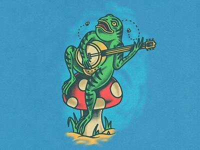 Classy Frog illustration banjo music acid trippy mushroom toad tattoo frog