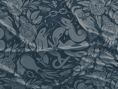 Frog Pattern textile print bandana flowers eye fire textile pattern tattoo snake frogs