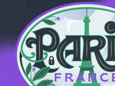 Paris foliage leaves eiffel tower badge lock paris typeface france paris