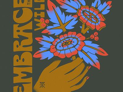 Roark Idle Hands funky drawing plants tattoo flowers hand illustration type lettering