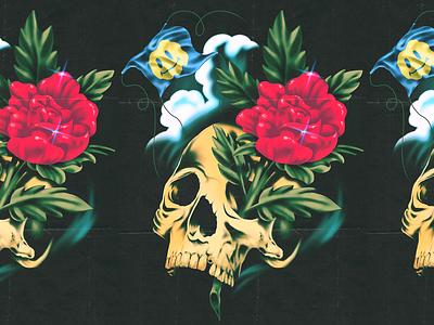 Skull & Rose metal retro airbrush tattoo flash tattoo rose skull illustration texture vin conti