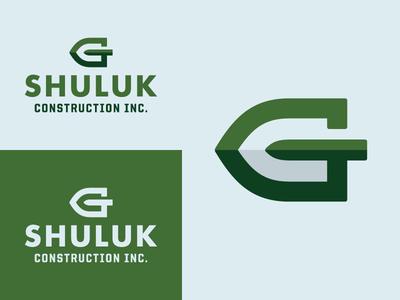 Greg Shuluk Construction new york g lawn care concrete masonry earth branding logo shovel construction