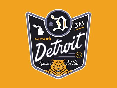 Detroit Tiger teeth claws 313 michigan blackletter badge motor motor city rise together tiger detroit