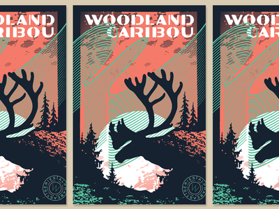 TypeHike | ALPHABEAST poster wpa northern lights caribou hike type typehike alphabeast