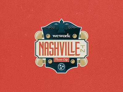 Nashville Sticker tennessee music guitar wework custom lettering sticker nashville