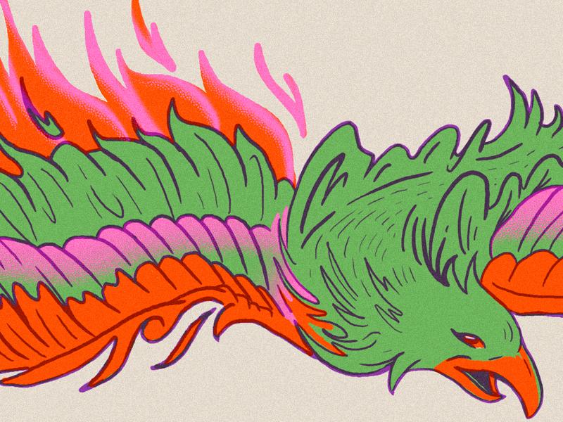 WIP Fire Bird stipple texture ink drawing eagle bird fire