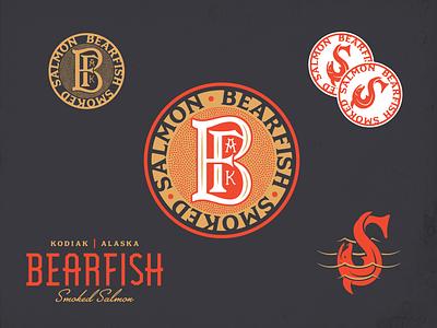 Bearfish - Kodiak, Alaska Smoked Salmon lettering packaging alaska illustration branding logo salmon
