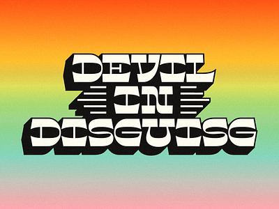 Reverse Con gradient devil 70s lettering reverse contrast