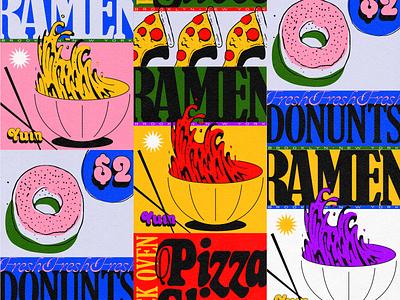 NYC Food type fonts illustration pizzeria ramen donut pizza