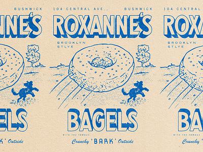 Roxanne's Deli illustration halftone lettering puppy dog bagel bushwick new york deli
