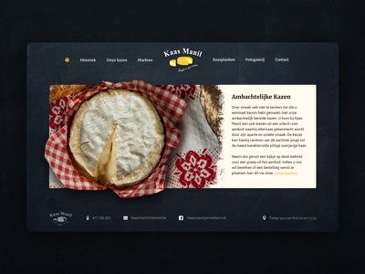 Website for a cheese company dark food cheese