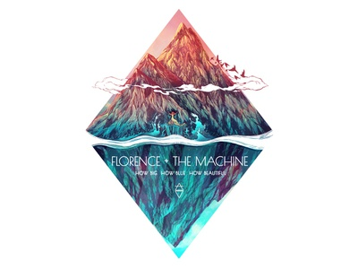 Florence + The Machine Poster water air lyrics cover music triangle alchemical digital mountains illustration big blue beautiful poster florence