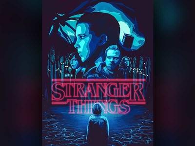 Stranger Things Poster art photoshop blue illustration design scifi film movie poster strangerthings