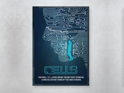 Cells logo digital cover art typography blue photoshop movie film poster design illustration