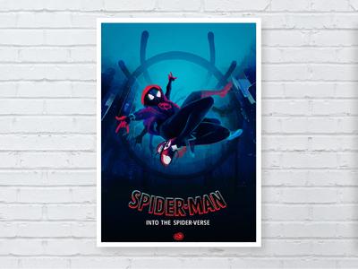 Spider-Man into the Spider-Verse comic marvelcomics marvel adobe creativecloud spiderverse spiderman blue cover art photoshop movie film poster design illustration