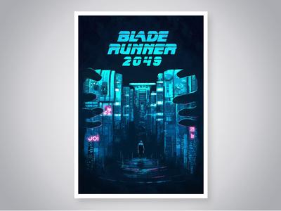 Blade Runner 2049 joi blade runner 2014 ryan gosling digital blue cover art photoshop film movie poster design illustration