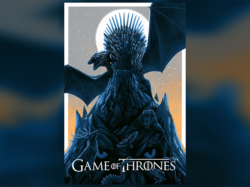 Game Of Thrones three eyed raven dragon night king iron throne hbo got game of thrones movie poster adobe art photoshop film poster movie design illustration