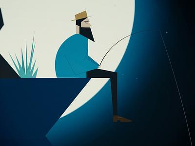 Silence illustration characterdesign moon silence fishing