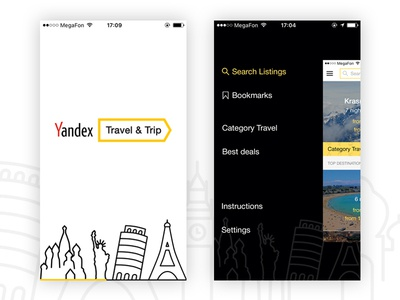 Yandex.Travel (loading and menu screens)