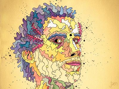 Jartolotl pop surrealism dots molecular illustration face portrait colorful surrealism surreal axolotl
