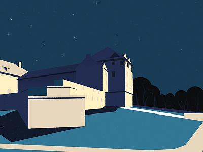 Evening in Dzialdowo 2 simple night sky castle evening