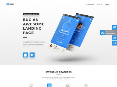 Bug - App Landing Page template responsive mobile app website template mobile app site mobile app landing page template mobile app landing page mailchimp landing page mobile app landing page html5 app showcase app landing page