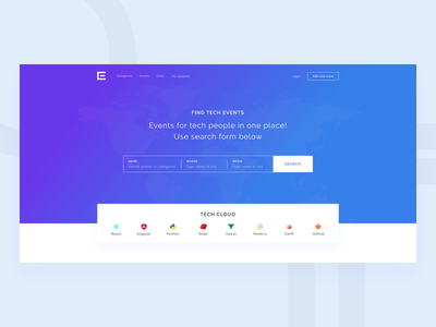 Landing Page (WIP) banner buttons cta event events conference tech programming form search landing page landing