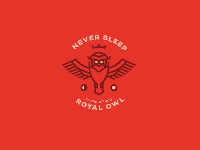 Never Sleep. Fyero Studio crown royal animal identity corporate logo monogram icon brand fyero studio owl