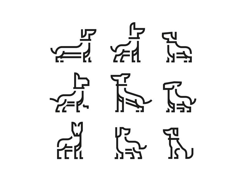 Dog Icon Set grid illustration design bark brand line stroke dingbat icon animal set dog
