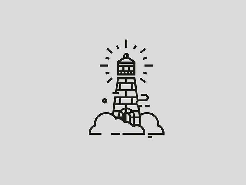 Lighthouse geometry clean logo stroke ink illustration icon cloud sea lighthouse faro tattoo