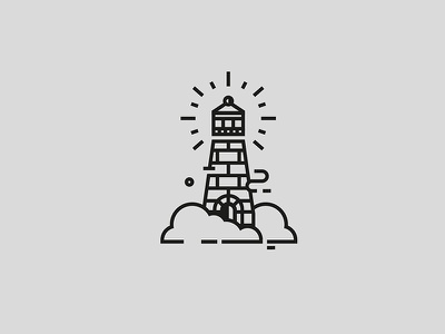 Lighthouse geometry clean logo stroke ink illustration icon cloud sea lighthouse faro tattoo