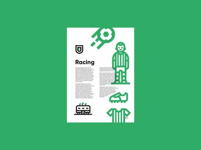 Racing Club de Santander goal synthetic logo brand type layout icon illustration design sport football soccer futbol grid