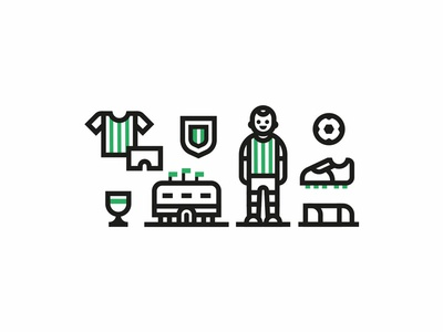 Icon set. Football player goal stadium logo sports green illustration design graphic setdesign icon set soccer futbol football
