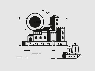 Trip skyline sailing draw logo village sea ocean port vector icon illustration gull galleon boat