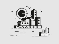 Trip skyline sailing draw logo village sea ocean port vector icon illustration gull galleon boat