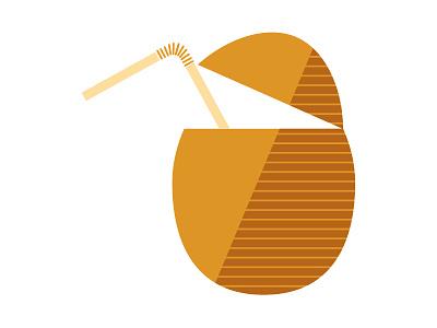 Coconut Milk illustration icon iconography straw drink milk coconut