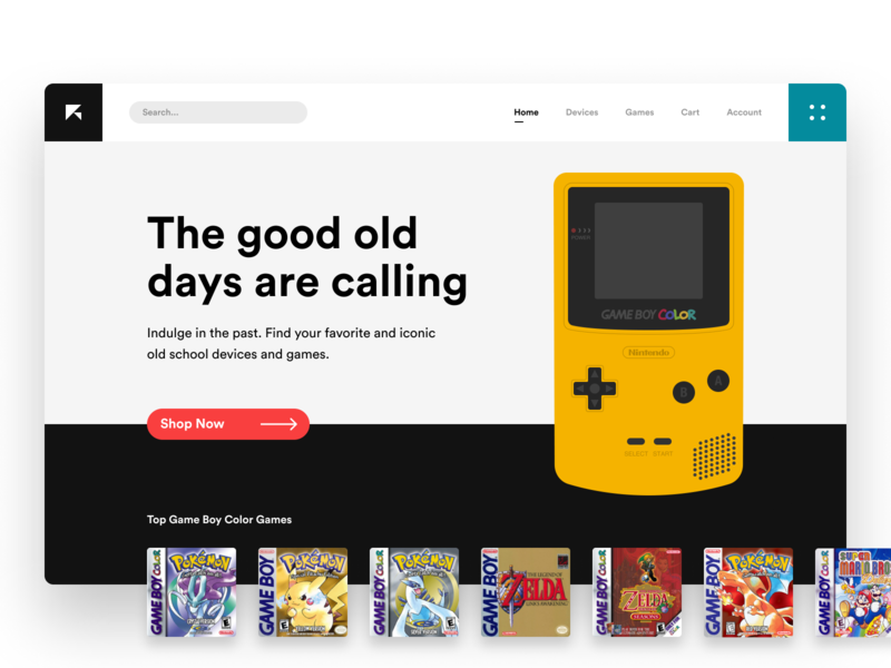 Retro Land #TBT throwback thursday tbt video games gameboy color retro landing page app design ecommerce clean ui minimalist web app typography grid layout ux design ui design