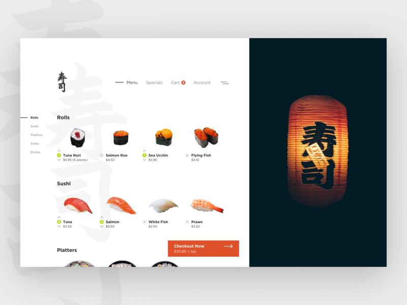 Sushi House - Web App food app food ordering sushi app design clean ui minimalist web app typography grid layout ux design ui design