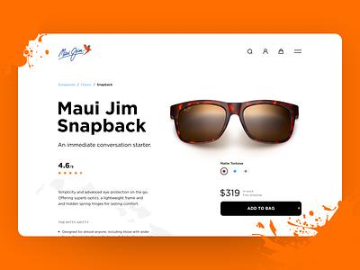 Maui Jim - Product Page hawaii sunglasses maui jim brand redesign ecommerce app design clean ui minimalist web app typography grid layout ux design ui design