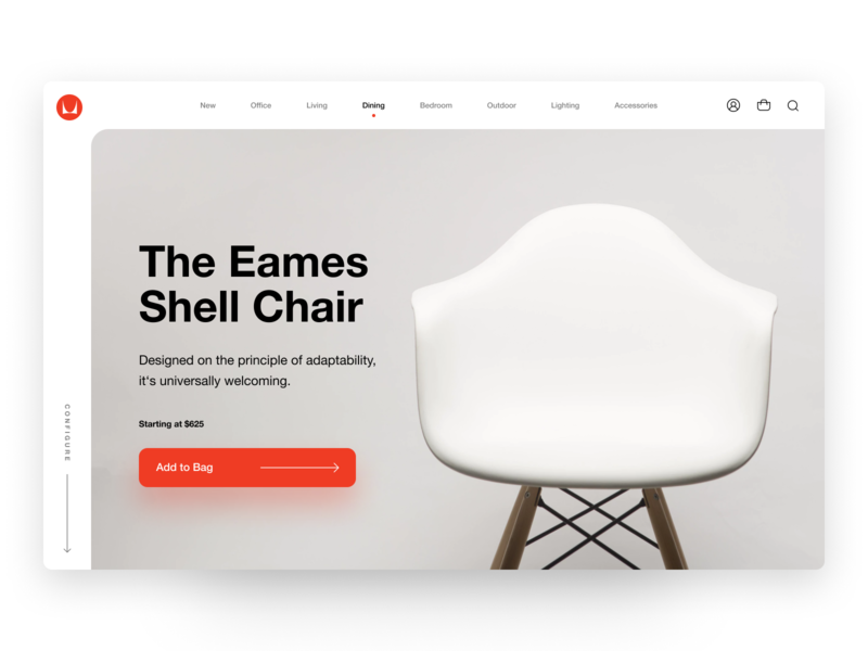 Herman Miller - Product Page furniture chair eames herman miller landing page brand redesign ecommerce app design clean ui minimalist web app typography grid layout ux design ui design
